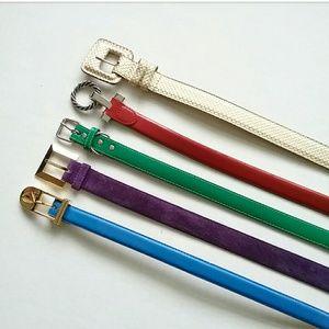 Accessories - 5 Vintage Belts Gold Red Green Purple Blue M/L